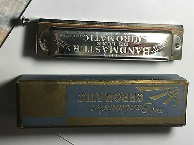 Boxed The Bandmaster Chromatic German Harmonica De Luxe Chrome Vintage