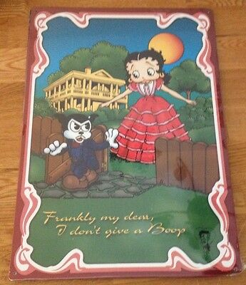 """Betty Boop Metal Movie Signs """"Frankly My Dear I Don't Give a Boop"""""""
