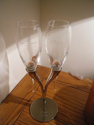 Moet & Chandon Champagne Flute Stand & Two  Engraves Flutes REDUCED BARGAIN