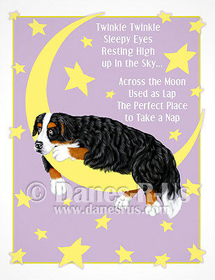 Bernese Mountain Dog Art Twinkle Stars Moon Greeting Note Cards Set of 10