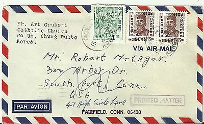 Korea Stamps: Vintage 1968 Cover to Southport, CT, USA