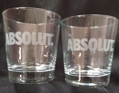 Two 12 ounce Absolut Vodka Glasses - Pair Etched Logo Glassware