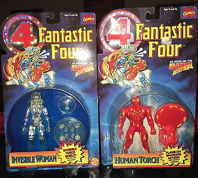 1995 Fantastic Four 4 Invisible Woman And Human Torch From Toybiz Lot of 2 MOC