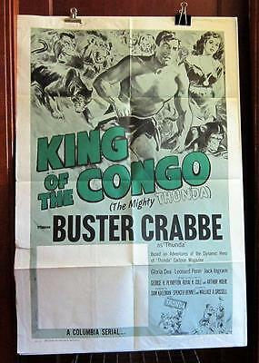 1960 KING OF THE CONGO Orig. Rerelease Stock 1-Sheet Serial Poster BUSTER CRABBE
