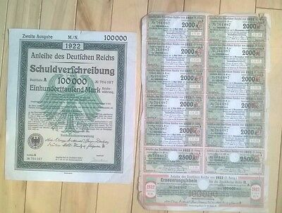 1922 Berlin, Germany: 100000 Mark Treasury Bond / Schuldverschreibung- A 764087