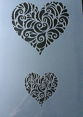 Love Heart  Valentine Day A4 Mylar Reusable Stencil Airbrush Painting Art