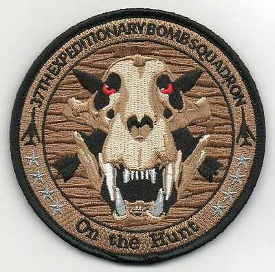 """USAF 37th Expeditionary Bomb Squadron OIR/OFS 2015-16 patch on v/ro (4"""")"""