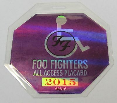 purple 2015 FOO FIGHTERS laminate ALL ACCESS backstage pass