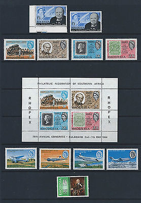 Rhodesia stamps various sets 1965-1977 Mint Never Hinged (MNH) - see scans