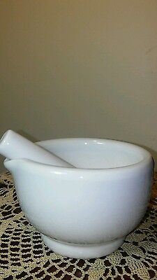 "White Porcelain Mortar & Pestle 3"" Tall  4.25"" Diam.  Pestle is 4.25"" Long"