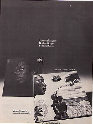 "1970 Miles Davis ""In A Silent Way/Bitches Brew"" Record Album Print Advertisement"