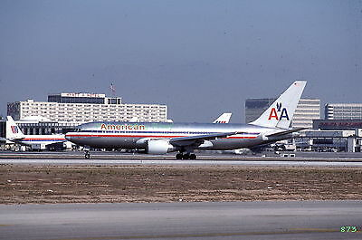 Original 1988 color airplane slide American Airlines Boeing 767 aircraft N312AA
