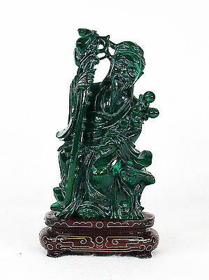 Chinese Carved Malachite Figure of Immortal Wood Stand
