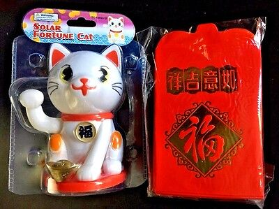 """NEW 4"""" Solar Powered Chinese New Year Good Luck Cat & 40 Red Envelopes FREE SHIP"""