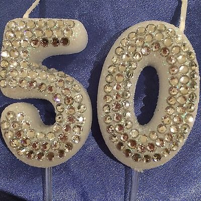 50 Silver Diamanté Birthday Fiftieth Candle Party Cake Topper 50th