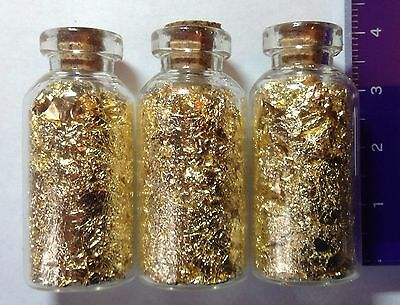 3 MEGA vials of Gold leaf/flake 40mm x 18mm glass vial with cork. Best Deal
