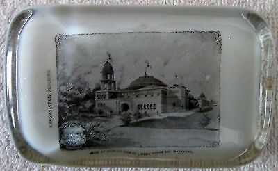 Chicago Worlds Fair Kansas State building paperweight Libbey Glass-nr mint 1893