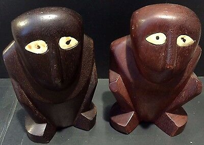 FERTILITY GODS Hand Carved Vintage 1954 MALE & FEMALE Pair ISLAND OF YAP Rare!