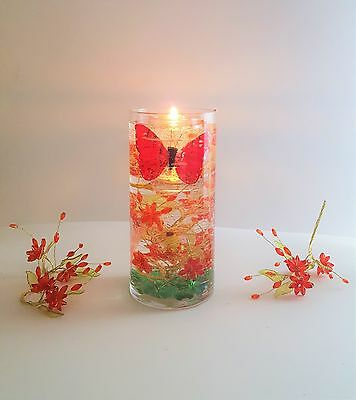 "7"" Reusable Gel Wax Candle with Red Crystal Flowers & Butterfly Details"