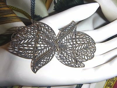 large vintage antique 2 piece belt buckle filigree brass flowers petals leaves