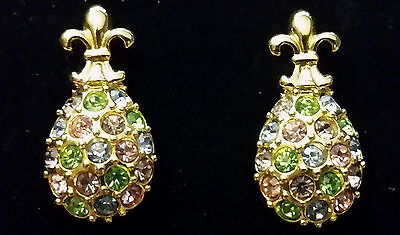 Joan Rivers Gold Flur De Lis Pastel Swarovski Crystal Faberge Egg Earrings