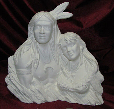 Ceramic Bisque Native American Indian Couple Bust Textured Back U-Paint