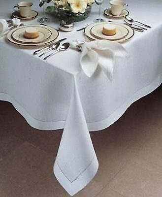 NEW FRENCH STYLE WHITE TABLECLOTH 100% COTTON 150cm x 230cm
