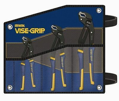 New IRWIN 2078711 GROOVELOCK PLIERS 3-PIECE SET WITH KIT BAG-FREE SHIPPING