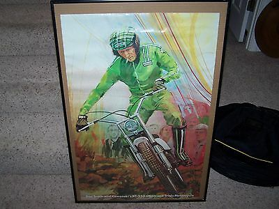 DON SMITH MOTORCYCLE POSTER KAWASAKI'S KT 250 Observed trails motorcycle 22 x 34