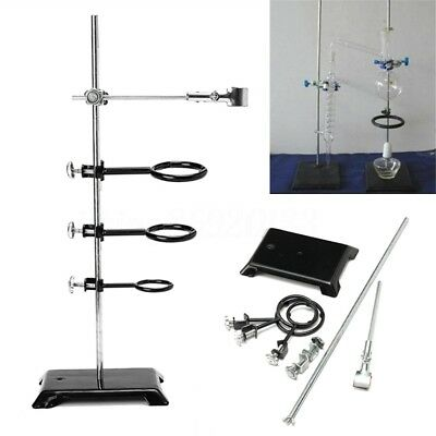 61cm Laboratory Stand Chemistry Lab Supplies Support Ring Base + 3 Rings Clamp