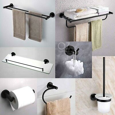 Bathroom Round Black Towel Rail Rack Toilet Paper Roll Holder Brush Robe Hook
