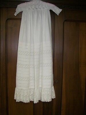 Finest Antique Victorian White Embroidery Christening Dress For Child Doll Baby