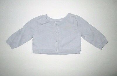 Infant Girls Baby Gap Gray / Blue Cardigan Sweater Size 0-3 Months