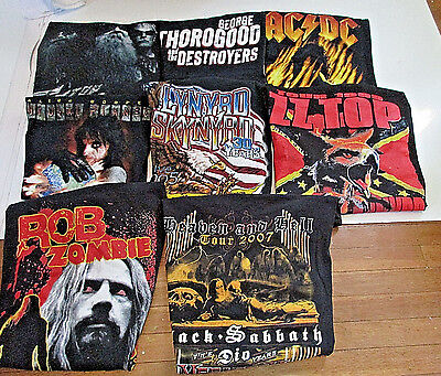 8 Rock n Roll Concert Tour Tshirts XL - AC/DC-ZZ TOP-ALICE COOPER-ROB ZOMBIE +++