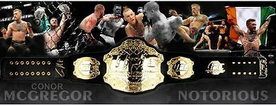 CONOR McGREGOR UFC CHAMPION HAND SIGNED FRAMED BELT WITH BACKDROP