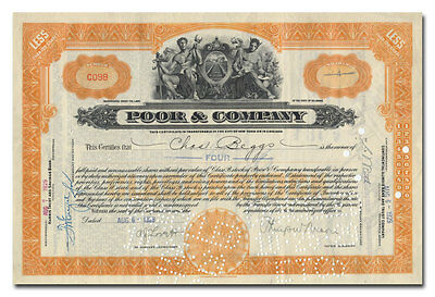 Poor & Company Stock Certificate (Rail Joints)