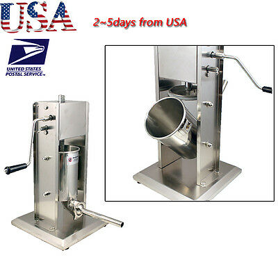 USA 5L Commercial Stainless Steel Sausage Meat Stuffer & Filler Vertical Machine