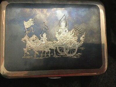 Antique Siam Sterling Silver Cigarette Case Royal Horse & Carriage