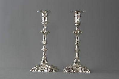 A Superb Pair of Georgian Cast Silver Candlesticks by William Cafe London 1763.