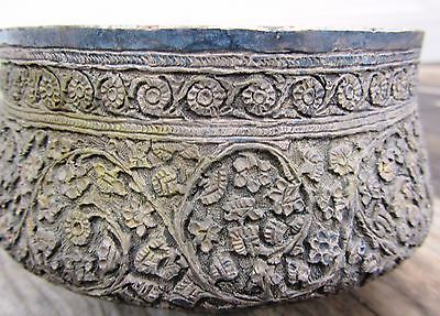Exceptional Antique Repousse Silver Islamic Middle Eastern Bowl Signed 395 Grams