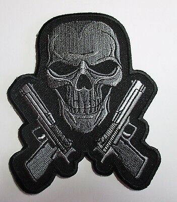 Skull & Twin Guns Patch - Sew Iron Embroidered Men's shed Rider biker vest