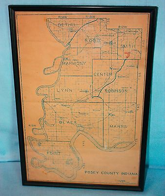 Vintage 1938 POSEY COUNTY INDIANA MAP ~ FRAMED ~ authentic