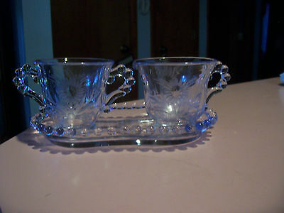 Imperial Candlewick floral cut Viennese blue? individual sugar,creamer and tray