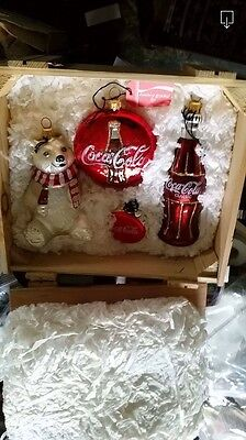 Polonaise Set Of 4 ALWAYS COCA-COLA ORNAMENTS In Wood Box-1996-GP517 Opened Once