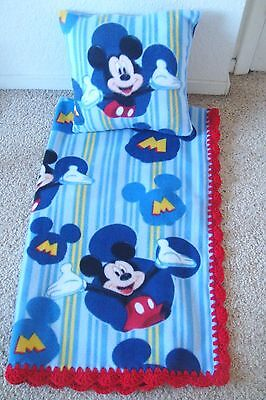 Mickey Mouse Stripe -Baby-Toddler-Blanket-Fleece- Crochet-Edge-& Pillow Cover