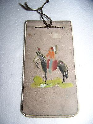 Vintage Souvenir notepad Hurley WI,leather cover,man riding horse paint on cover