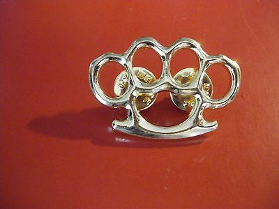 Silver coloured Knuckle busters Quality Lapel Pin Badge  biker Men's shed sports