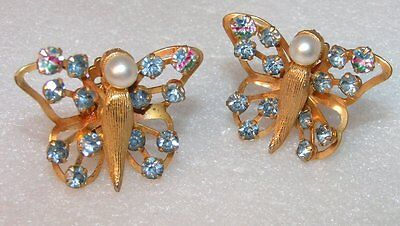 Vintage Magical Gold Plated Rhinestone Blue & Pearl Butterfly Clip on Earrings