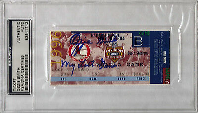 "Ozzie Smith signed autographed 1996 Ticket Stub Inscribed ""MY LAST GAME"""