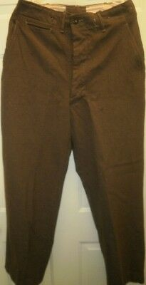 Vintage WWII US Army Uniform Wool Trousers Pants Military Button Fly WW II Mens